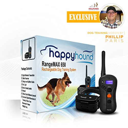 HAPPY HOUND, Dog Training Collar with Remote, RANGEMAX 650, Waterproof, Rechargeable, 650-yard range, (HHRT-650) w/ downloadable free exclusive training videos by renowned trainer Phillip Paris