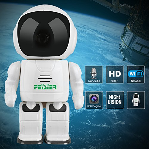 HD Wireless Robot IP Camera,FEISIER 960P Security Camera 1.3MP CMOS Baby Monitor Pan Tilt Remote Home Security P2P IR Night Vision for Mobile Android/iOS and Laptop (White) by FEISIER (Image #1)