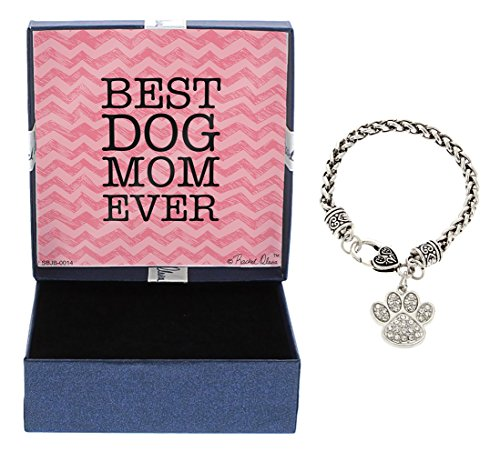 Mother's Day Gifts Best Dog Mom Ever Bracelet Silver-Tone Love Spelled with Dog Pawprint Charm Bracelet Jewelry Box Keepsake Gift for Dog Lover Gifts Bracelet Mothers Day Gift Idea For A Dog Mom by Gift Jewelry By Rachel Olevia