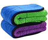 Sinland Ultra Thick Plush Microfiber Car Cleaning Towels Buffing Cloths Drying Towel 16Inch x 16Inch 2 Pack (blue/purple+blue/green)