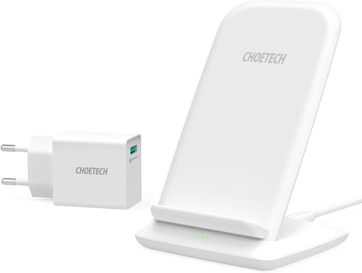 CHOETECH 15W Cargador Inalámbrico Rápido, Fast Wireless Charger con Adaptador QC 3.0, 7.5W para iPhone11/11Pro/SE/XS/XR/X/8/8Plus, 10 W para Samsung S20/S10/S9/Note10/Note9/S8, Huawei etc -Blanco