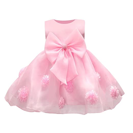 ebd34292faea KONFA Toddler Baby Girls Solid Color 3D Flowers Bowknot Bridesmaid Dress