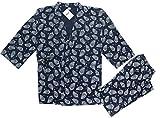 Soojun Men's Pattern Kimono Jinbei Japan Traditional Clothes Set, #1 Navy, L