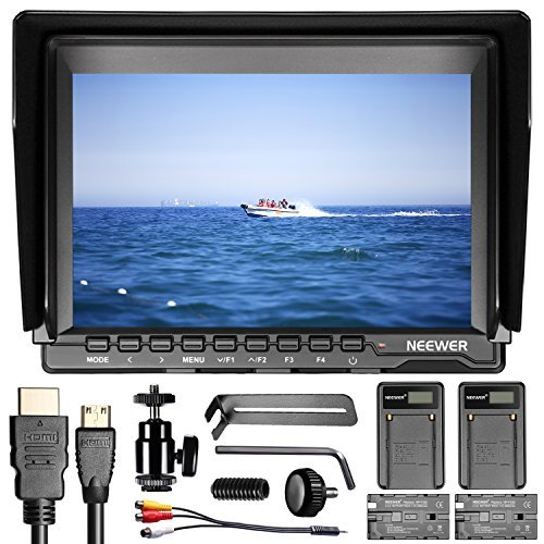 Neewer NW74K 7 Inches Ultra HD 4K 1280x800 IPS Screen Camera Field Monitor with 2 Packs F550 Replacement Battery and 2 Pieces USB Battery Charger for DSLR Cameras by Neewer