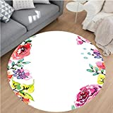Nalahome Modern Flannel Microfiber Non-Slip Machine Washable Round Area Rug-ection Floral Frame with Summer Flowers Roses Natural Picture Pink Navy Blue Purple White Area Rugs Home Decor-Round 36''