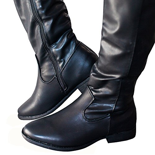 Boots Meilidress 2 Winter Flat black Strappy Leather Riding Strappy no Tall Women 75x5nRwTq1