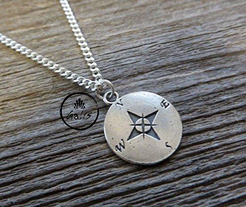 Men's Necklace - Men's Silver Necklace - Men's Compass Necklace - Men's Jewelry - Necklaces For Men - Jewelry For Men