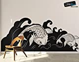 Japanese Koi Fish Wave Wall Decal Sticker 60in Tall X 141in Wide #OS_MB118B