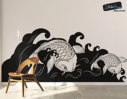 Japanese Koi Fish Wave Wall Decal Sticker 60in Tall X 141in Wide #OS_MB118B by Stickerbrand