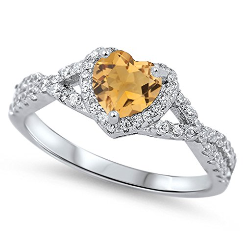 - 925 Sterling Silver Faceted Natural Genuine Yellow Citrine Heart Halo Promise Ring Size 8