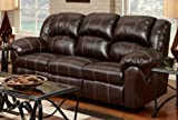 Roundhill Furniture LAF1003BB Brandan Bonded Leather Dual Reclining Sofa Brown