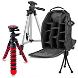 Professional Tripod + Backpack Accessory Kit For all Canon, Nikon, Sony, Panasonic, Olympus Cameras, Kit Includes 8 Compact Accessories