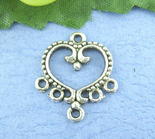 35pc Connectors Findings Antique Silver 19*21mm Heart Chandelier Earring ()