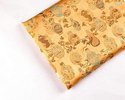 FidgetKute Wholesale! Chinese Classic Retro Damask Jacquard Brocade Fabric: Boutique VASE Orange by 1 Yard ()