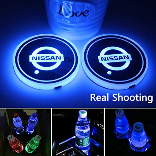 2pcs LED Car Cup Holder Lights for Nissan, 7 Colors Changing USB Charging Mat Luminescent Cup Pad, LED Interior Atmosphere Lamp
