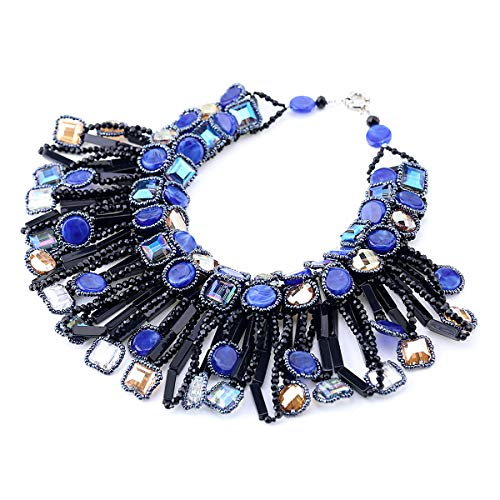 Crystal Statement Necklace, Chunky Chain Choker Bib Statement Necklace Fashion Costume Jewelry Necklaces for Women, 1 Piece Within 1 Gift Bag