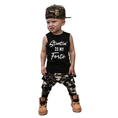 Woaills 0 24M Baby Boy ClothesToddler Kids Camouflage Pants Letter Vest Tops