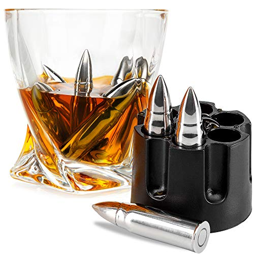 FROLK WHISKEY STONES SET OF 6 EXTRA LARGE STAINLESS STEEL WHISKEY BULLETS IN REALISTIC REVOLVER FREEZER BASE Reusable Chilling Rocks Stone Ice Cubes Chillers Birth Day Gift Set for Father Day]()