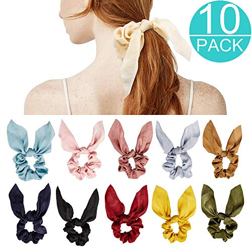 (Jugaogao 10 Pack Scrunchies for Hair, Cute Bunny Ear Silk Satin Bow Hair Band Tie for Women and Girls)