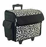 Cheetah Print Rolling Sewing Machine Tote - Sewing Machine Case Fits Most Standard Brother & Singer Sewing Machines, Sewing Bag with wheels & Telescoping Handle - Portable Sewing Case for Travel