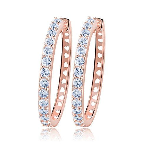 - uPrimor Rose Gold Plated Big Hoop Earring 33mm Paved with Luxury AAA Cubic Zirconia for Ladies