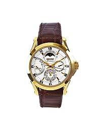 Seiko Men's SRX004 Premier Brown Leather Strap White Dial Watch