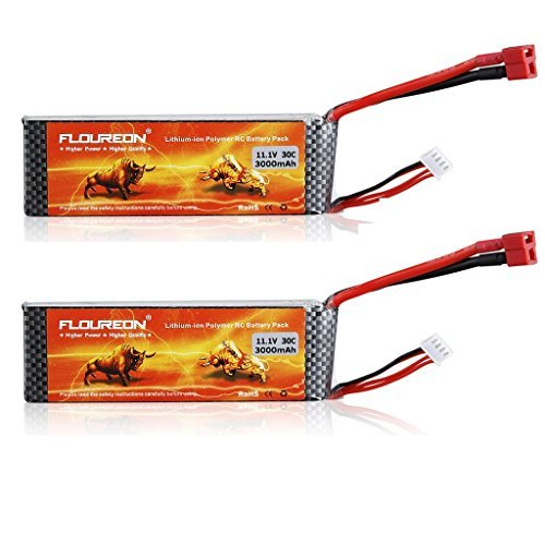 FLOUREON 3S 11.1V 3000mAh 30C LiPo RC Battery Pack with T Plug for RC Evader BX Car RC Truck RC Truggy RC Airplane UAV Drone FPV RC Helicopter(2pack)