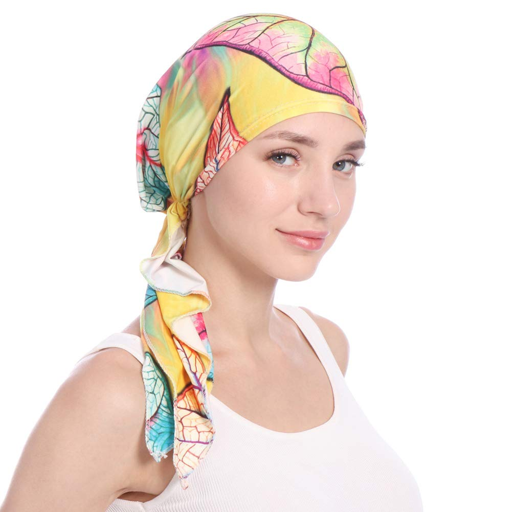 shengyuze Fashion Floral Printed Breathable Women Head Wrap Hat Muslim Hijab Turban Decor - Yellow