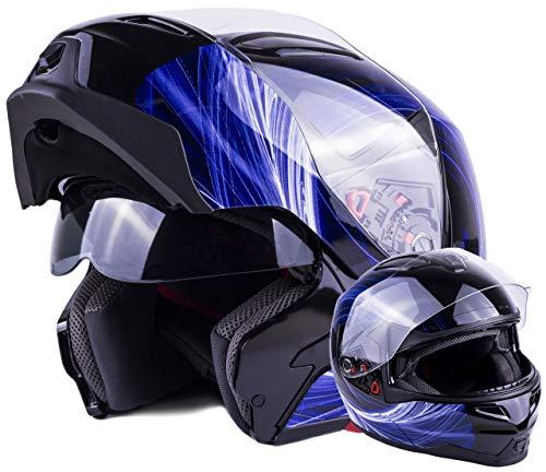 Adult Modular Motorcycle DOT Dual Visor Full Face Flip-up Helmet Blue Large ()