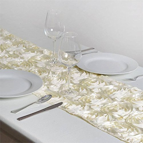 BalsaCircle 14 x 108-Inch Ivory Raised Roses Table Top Runner - Wedding Party Reception Occasions Linens ()