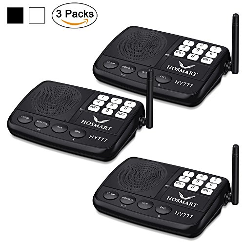 Master Intercom System (Hosmart 1/2 Mile LONG RANGE 7-Channel Security Wireless Intercom System for Home or Office (2017 New vesion)[3 Stations Black])
