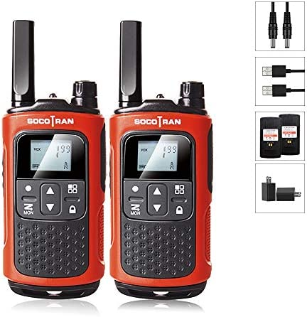 SOCOTRAN Walkie Talkies for Adults Rechargeable Two-Way Radio 22CH VOX LED Flashlight Rechargeable Battery 5 Miles Long Range for Camping Hiking Family Skiing Biking Outdoor Adventures