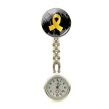 NEW CLOCKS Concientización Sobre el cáncer Infantil Enfermera Reloj Cinta Dorada Reloj Enfermeras Arte Joyería Enfermera Fob Broche Reloj Fob Reloj de ...