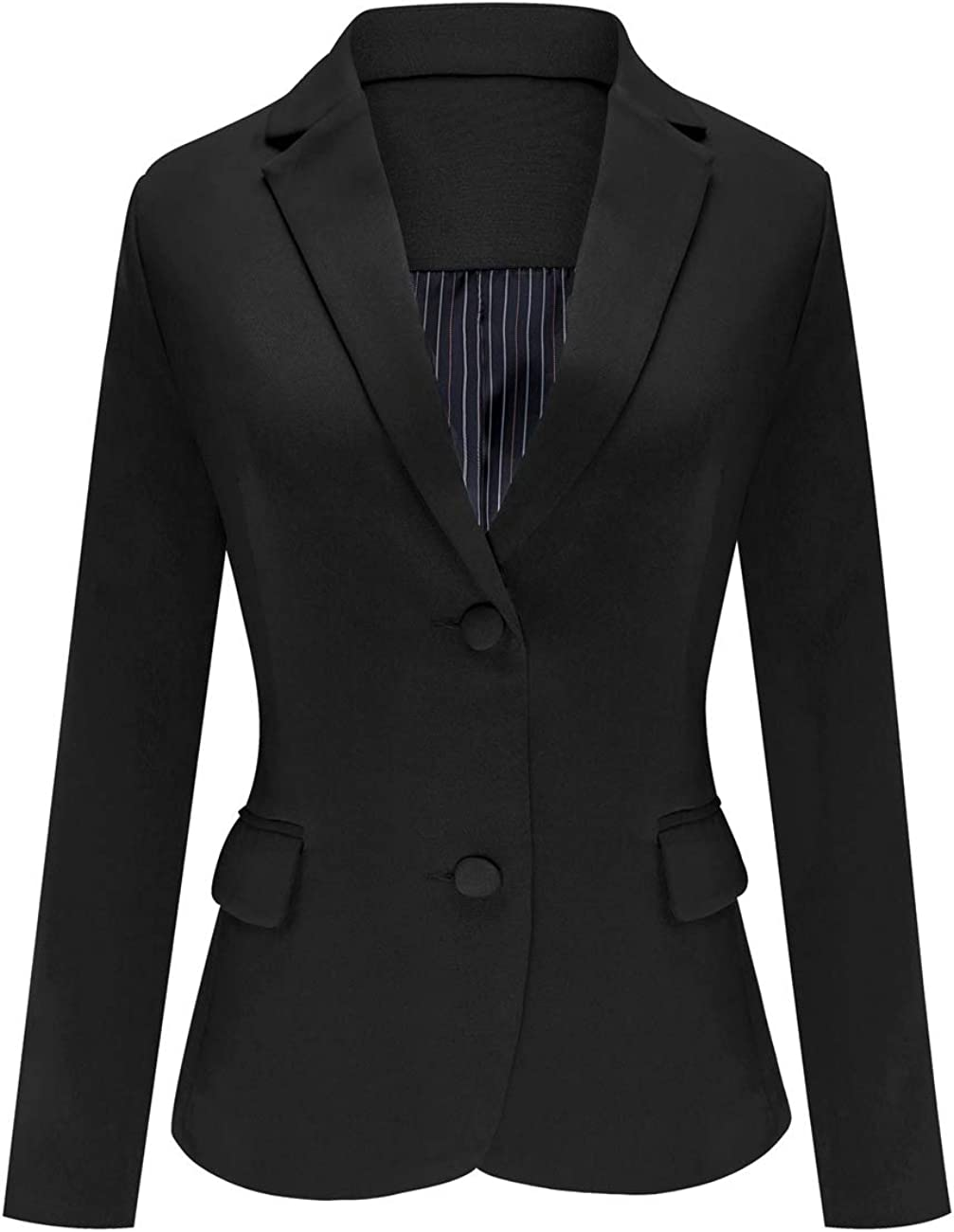 Luyeess Women's Casual Work Office Notch Lapel Pocket Buttons Blazer Suit Jacket