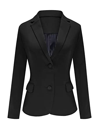 online store 5fd2e 67461 Luyeess Women s Casual Work Office Notch Lapel Pocket Buttons Blazer Suit  Jacket at Amazon Women s Clothing store