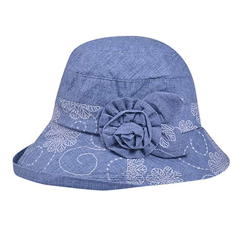 GUANGXINNI Summer Hat for Women Cotton Floppy Hats Wide Brim Flower Sunhat Beach Caps,Navy