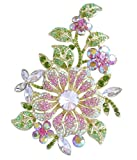 Sindary Gorgeous 4.72'' Pink Austrian Crystal Orchid Flower Brooch Pin BZ4712