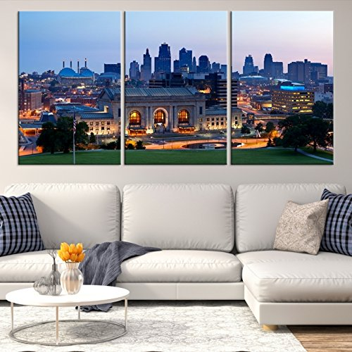 Amazon.com: Kansas City Skyline Wall Art, Kansas City Skyline Canvas ...