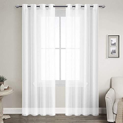 LoyoLady White Sheer Curtains 90 inches Long, Sheer Curtains for Bedroom, Set of 2 Panels 90 W x 90 L Grommet Window Curtains for Living Room Decor