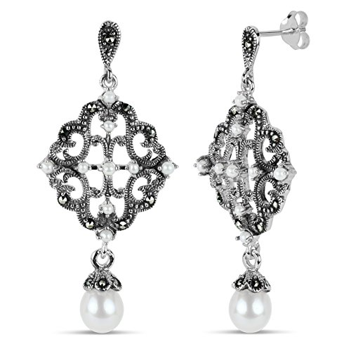 Freshwater Marcasite Earrings - Sterling Silver Marcasite And Freshwater Pearl Chandelier Earrings, Featuring Swarovski Marcasite