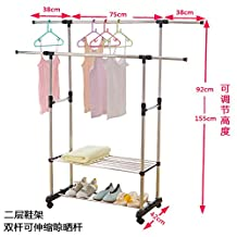 Simple Clothes airer clothes drying rack hangers are cool-ceiling telescoping folded double bar , indoor double bar elongated (2 storey SHOES RACK)