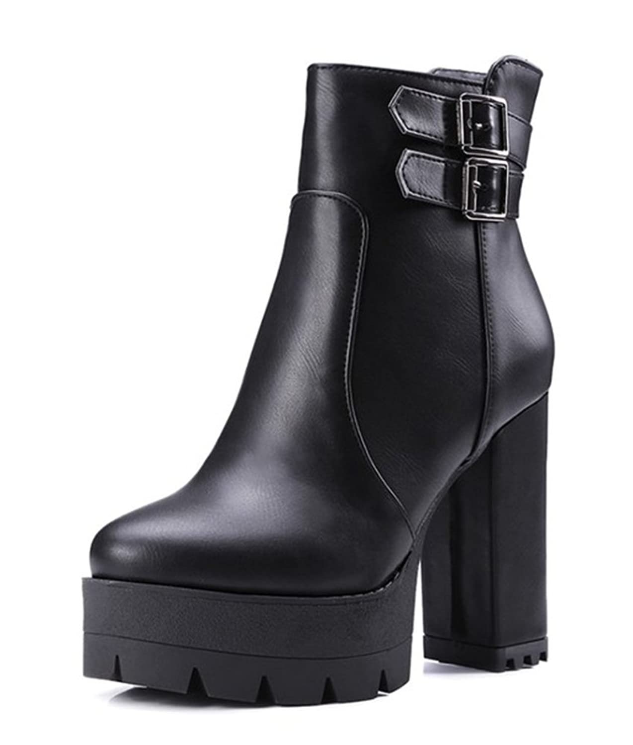 Aisun Women's Trendy Round Toe Buckle Strap Side Zipper Dress Platform Stacked High Heel Ankle Boots Shoes