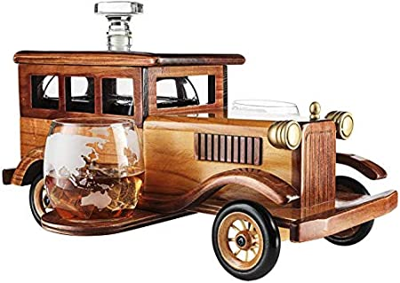 Tcbz Juego de decantador de Whisky de Coche Antiguo, espita de decantador de 750 ml y Vaso de Whisky de 2-10 oz, Vasos de Estilo Antiguo, Coche Antiguo de Estilo Antiguo, Gran Regalo de Bar.