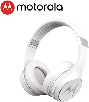Amazon Com Motorola Escape 220 Over The Ear Bluetooth Wireless Headphones Hd Sound Built In Microphone 23 Hour Play Time Noise Isolation Foldable Compact White Home Audio Theater