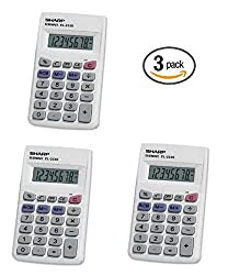 3 Pack Sharp El233sb Standard Function Battery Operated Calculator