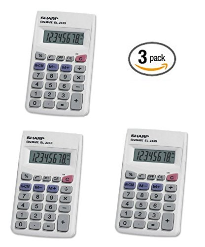 3 Pack Sharp EL233SB Standard Function Battery Operated Calculator by Sharp