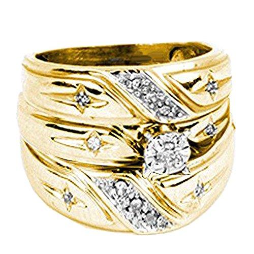 - Dazzlingrock Collection 0.20 Carat (ctw) 14K Round White Diamond Men & Women's Engagement Ring Trio Bridal Set 1/5 CT, Yellow Gold
