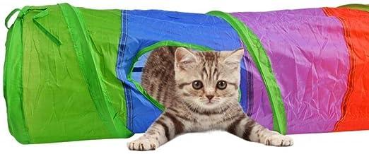 Gulunmun Túneles para Gatos Artículos para Gatos Tubos Y Túneles para Animales Pequeños Cat Play Multicolor Juguete Interactivo Plegable 2 Agujeros Túnel De Gato con Bola: Amazon.es: Productos para mascotas