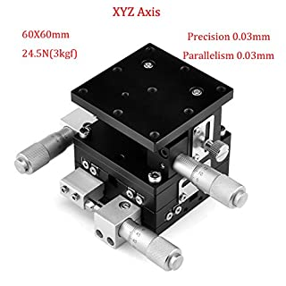 XYZ 3 Axis Manual Linear Stage 60x60mm Trimming Bearing Tuning Platform Sliding Table
