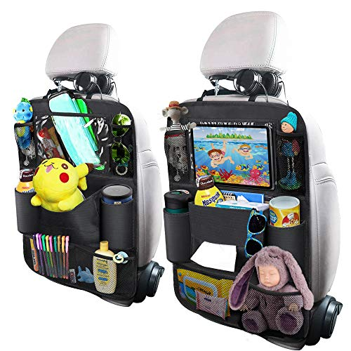 OYRGCIK Backseat Car Organizer, Kick Mats Car Back Seat Protector with Touch Screen Tablet Holder Tissue Box 8 Storage Pockets for Toys Book Bottle Drinks Kids Baby Toddler Travel Accessories, 2 Pack ()
